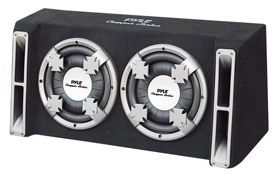 Pyle - PL212DS , Car Audio , Subwoofer Enclosures , Bandpass Systems , Dual 12'' Slim Designed Subwoofer Bass Box Enclosure System