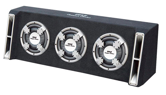 Pyle - PL310TS , Car Audio , Subwoofer Enclosures , Bandpass Systems , Triple 10'' Slim Designed Subwoofer Bass Box Enclosure System