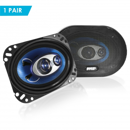 Pyle - PL463BL , Car Audio , Car Speakers , 4x6'' Car Speakers , 4'' x 6'' 240 Watt Three-Way Speakers