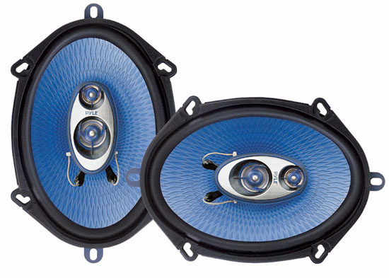 Pyle - PL573BL , Car Audio , Car Speakers , 6x8'' Car Speakers , 5'' x 7'' & 6'' x 8'' 300 Watt Three-Way Speakers