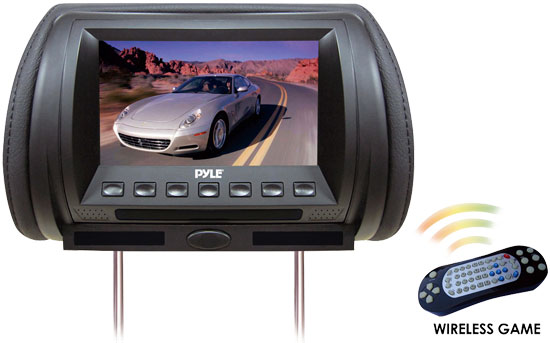 Pyle - PL70HDB , On the Road , Headrest Video , Adjustable Hideaway Headrest 7'' TFT Video Monitor W/Built In  Multimedia Disc/USB/SD Player & Wireless IR/FM Transmitter/ Built In 32 Video Game System