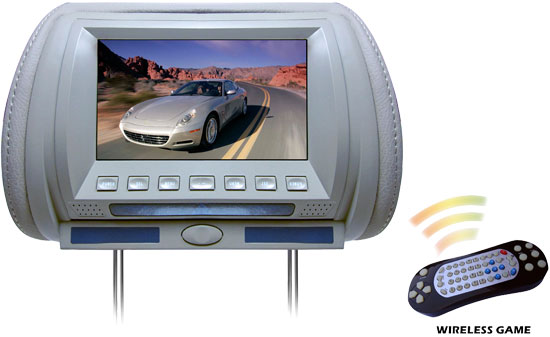 Pyle - PL70HDG , On the Road , Headrest Video , Adjustable Hideaway Headrest 7'' TFT Video Monitor w/Built-In  Multimedia Disc/USB/SD Player & Wireless IR/FM Transmitter/ Built-in 32 Video Game System (GREY COLOR)