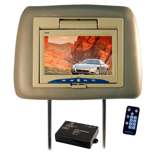 Pyle - PL71HRTN , Mobile Video / Navigations , Headrest Monitors , Adjustable Headrest w/Built-in 7'' TFT Monitor
