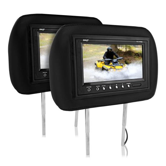 Pyle - PL71PHB , On the Road , Headrest Video , Adjustable Headrest Pair with Built-in 7'' TFT-LCD Monitors (Black)