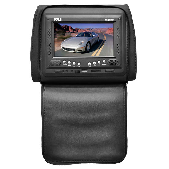 Pyle - PL72HRBK , On the Road , Headrest Video , Adjustable Single Headrest w/ Built-In 7'' TFT/LCD Monitor W/IR Transmitter & Cover (Black)