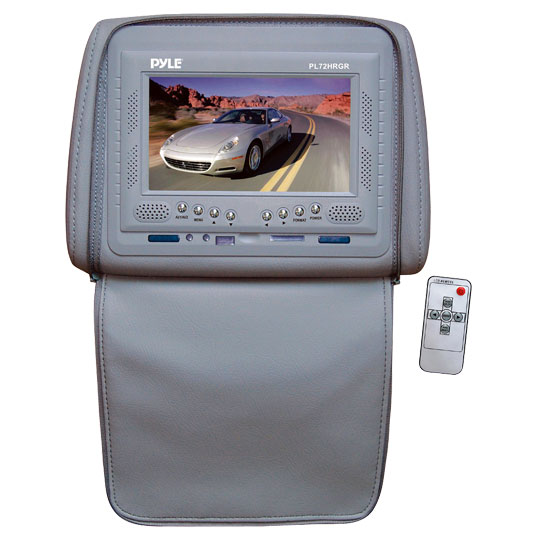 Pyle - PL72HRGR , On the Road , Headrest Video , Adjustable Single Headrest w/ Built-In 7'' TFT/LCD Monitor W/IR Transmitter & Cover (Gray)