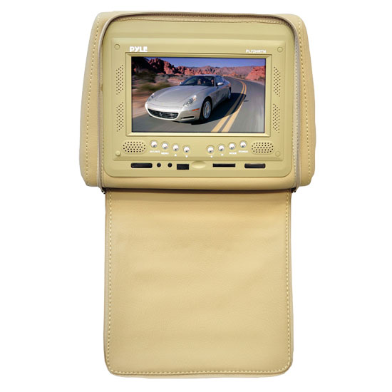 Pyle - PL72HRTN , On the Road , Headrest Video , Adjustable Single Headrest w/ Built-In 7'' TFT/LCD Monitor W/IR Transmitter & Cover (Tan)