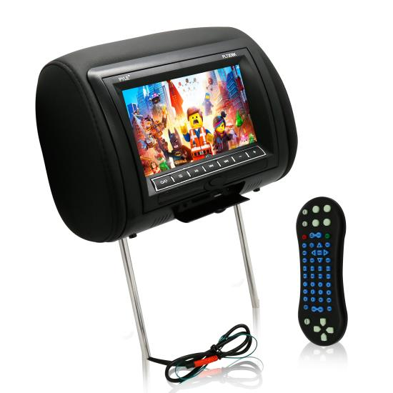 Pyle - PL73DBK , Mobile Video / Navigations , Headrest Monitors , 7'' Wide Screen Hi-Res Headrest Video Display Monitor with Built-in Multimedia Disc Player, USB Flash & SD Memory Card Readers, Remote Control, Zipper Cover