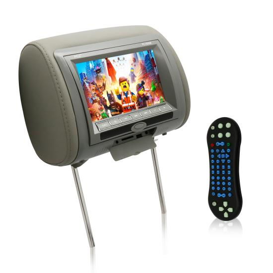 Pyle - PL73DGR , On the Road , Headrest Video , 7'' Wide Screen Hi-Res Headrest Video Display Monitor with Built-in Multimedia Disc Player, USB Flash & SD Memory Card Readers, Remote Control, Zipper Cover