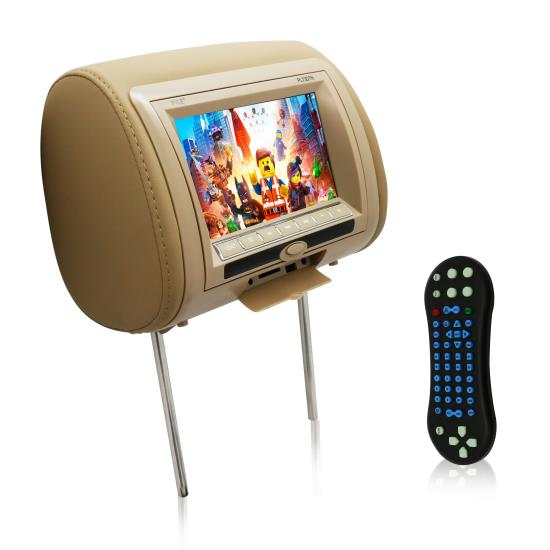 Pyle - PL73DTN , Mobile Video / Navigations , Headrest Monitors , 7'' Wide Screen Hi-Res Headrest Video Display Monitor with Built-in Multimedia Disc Player, USB Flash & SD Memory Card Readers, Remote Control, Zipper Cover
