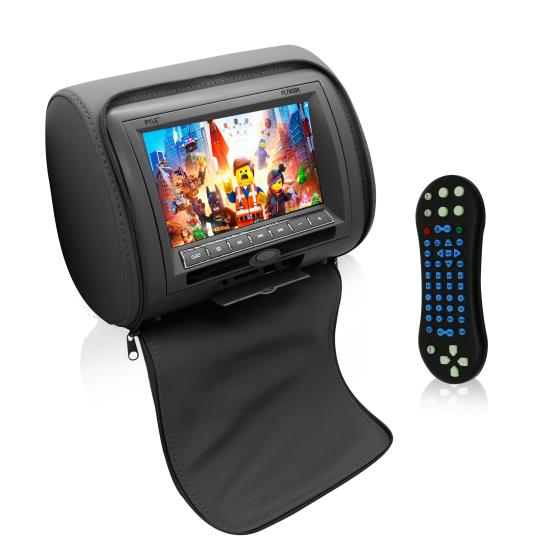 Pyle - PL74DBK , On the Road , Headrest Video , 7'' Headrest Display Monitor, Hi-Res Video Car Monitor with Built-in Multimedia Disc Player, USB/SD Readers, FM Transmitter