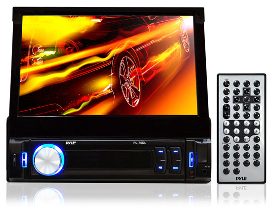 Pyle - PL75DL , Mobile Video / Navigations , In-Dash DVD With Monitors , 7'' Touch Screen Retractable Monitor Receiver w/ iPod/MP3 Input, USB/SD Readers & AM/FM Radio