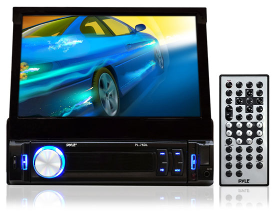Pyle - PL78DLB , On the Road , Headunits - Stereo Receivers , 7'' Retractable Touchscreen Monitor & Receiver w/ iPod/MP3 Input, AM/FM, Bluetooth, SD Memory & USB Flash Readers