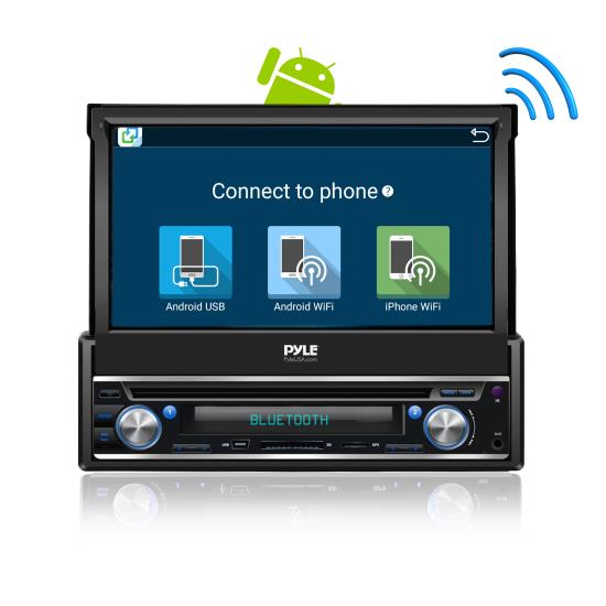 single din android stereo receiver system with pop out. Black Bedroom Furniture Sets. Home Design Ideas