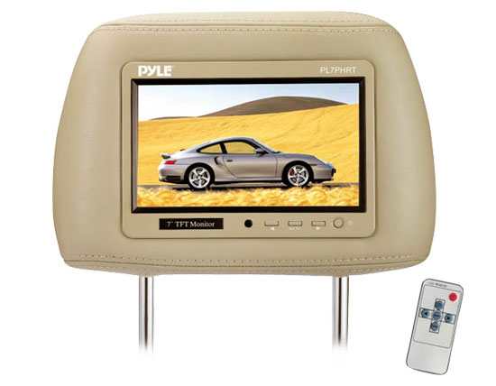 Pyle - PL7PHRT , On the Road , Headrest Video , Complete Tan Vinyl Headrest w/Built-In 7'' TFT-LCD Monitor
