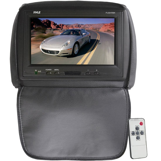 Pyle - PL90HRBK , On the Road , Headrest Video , Adjustable Headrest/ Built-In 9'' TFT-LCD Monitor with IR Transmitter (Black Color)