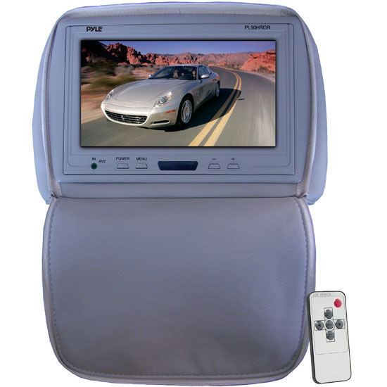 Pyle - PL90HRGR , Mobile Video / Navigations , Headrest Monitors , Adjustable Headrest/ Built-In 9'' TFT-LCD Monitor with IR Transmitter (Gray Color)