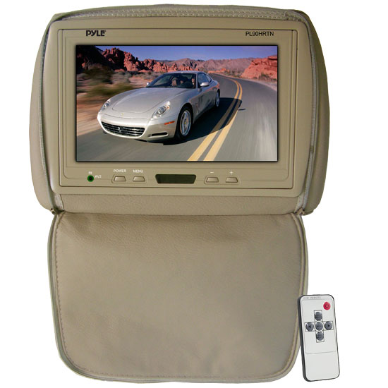 Pyle - PL90HRTN , On the Road , Headrest Video , Adjustable Headrest/ Built-In 9'' TFT-LCD Monitor with IR Transmitter (Tan Color)