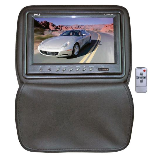 Pyle - PL91HRBK , Mobile Video / Navigations , Headrest Monitors , Adjustable Headrests w/ Built-In 9'' TFT/LCD Monitor W/IR Transmitter & Cover (Black)