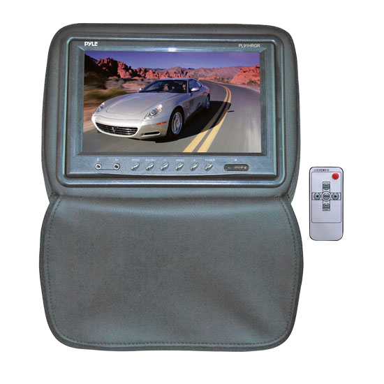 Pyle - PL91HRGR , On the Road , Headrest Video , Adjustable Headrests w/ Built-In 9'' TFT/LCD Monitor W/IR Transmitter & Cover (Gray)