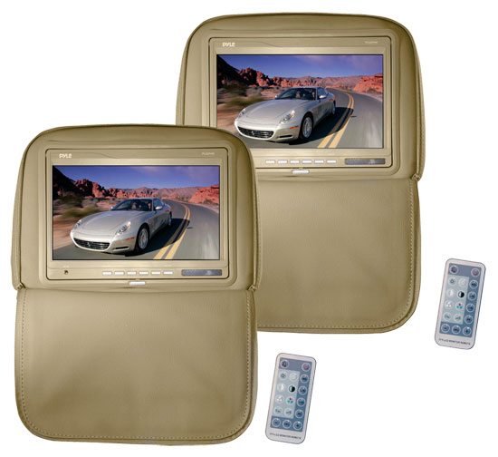 Pyle - PL92PHRT , On the Road , Headrest Video , Pair of Adjustable Headrests w/ Built-In 9.2 TFT Monitor (Tan)