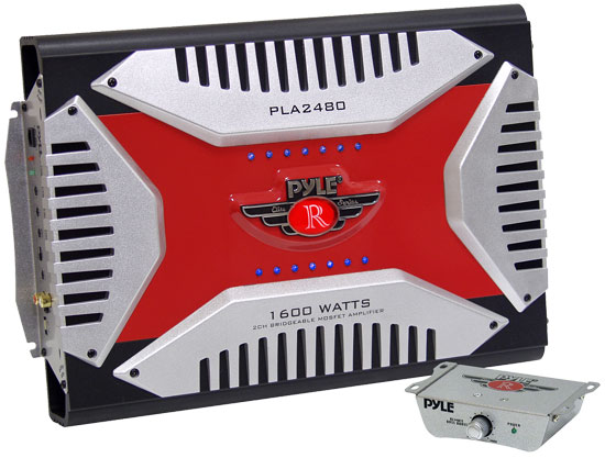 Pyle - PLA2480 , On the Road , Vehicle Amplifiers , 2 Channel 1600 Watt Bridgeable Mosfet Amplifier