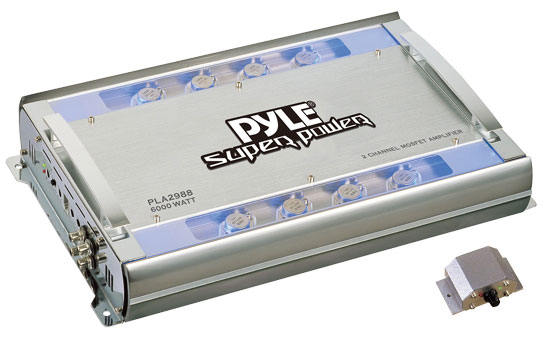 Pyle - PLA2988 , On the Road , Vehicle Amplifiers , 2 Ch 6000 Watts Bridgeable Mosfet Amplifier