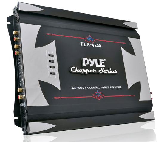 Pyle - PLA4200 , On the Road , Vehicle Amplifiers , 4 Channel 2000 Watt Bridgeable Mosfet Amplifier