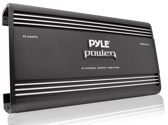 Pyle - PLA4478 , On the Road , Vehicle Amplifiers , 4 Ch 4000 Watts Bridgeable Mosfet Amplifier