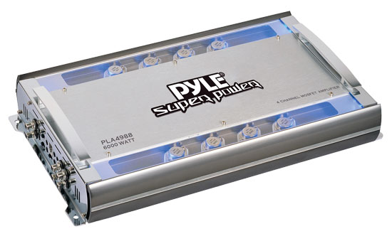 Pyle - PLA4988 , On the Road , Vehicle Amplifiers , 4 Channel 6000 Watts Bridgeable Mosfet Amplifier