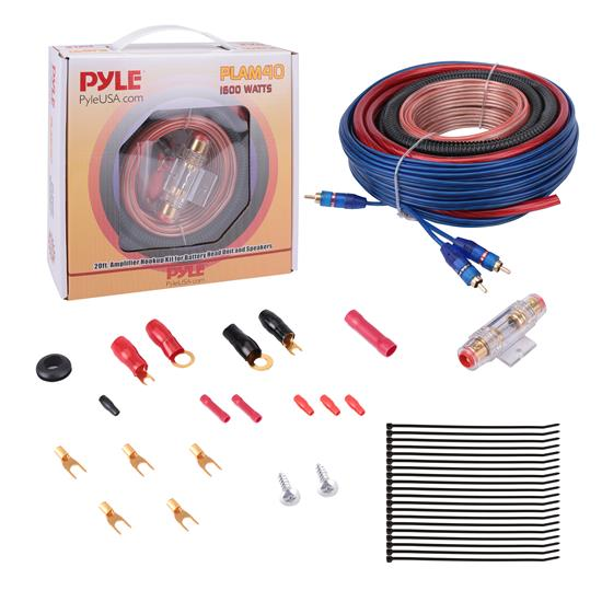 Pyle - PLAM40 , Musical Instruments , Cables, Wiring, Adapters , Sound and Recording , Cables, Wiring, Adapters , 20ft 4 Gauge 1600 Watt Amplifier Hookup For Battery Head Unit & Speakers Installation Kit