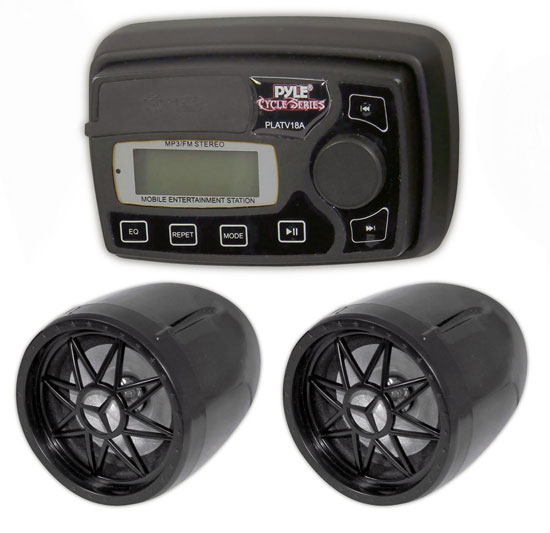 Pyle - PLATV18A , On the Road , Motorcycle and Off-Road Speakers , 100 Watt Motorcycle/ATV/Snowmobile/Golf Cart Mount Speakers w/MP3/iPod Stereo Input (Black)