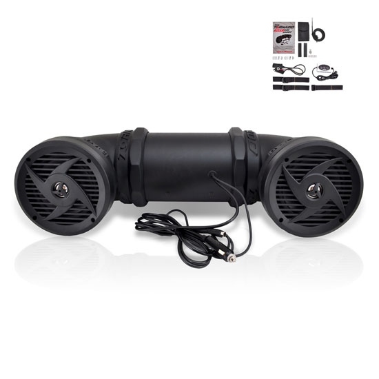 Pyle - PLATV550BT , On the Road , Motorcycle and Off-Road Speakers , 500 Watts ATV/UTV/Jet Ski/Snowmobile Waterproof Powered Sound System w/ 6.5'' 2-way Stereo Marine Speakers & Built in Leather Case suitable for MP3, Mobile Phone, & Aux 3.5mm Devices & Bluetooth Wireless Streaming