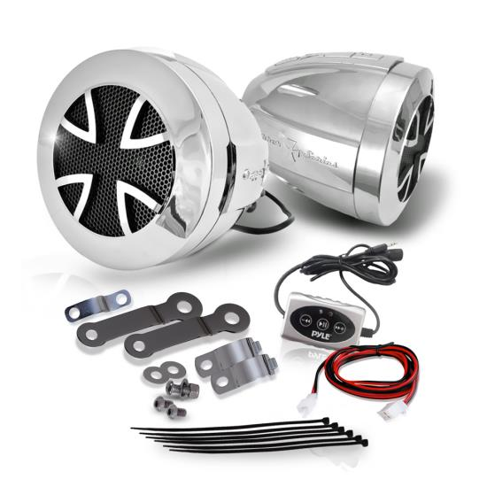 Pyle - PLATVB84A , On the Road , Motorcycle and Off-Road Speakers , 800 Watts Motorcycle/ATV/Snowmobile Mount with Dual Handle-bar Mount Chromed Plastic Weatherproof 3-Inch Speakers W/Amplifier Built-In W/Bluetooth In-Line Control for i-phone, i-pad, i-pad mini, Cell Phone Etc.