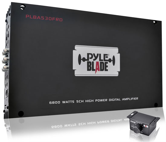 Pyle - PLBA530FRD , On the Road , Vehicle Amplifiers , BLADE 6800 Watts 5 Channel Compact Class-D Full Range Hybrid Amplifier