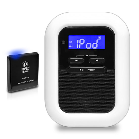Pyle - PLBACS , Home and Office , Alarm Clock Radios - Plug-in Speakers , Bluetooth Music Streaming Digital Alarm Clock and Receiver System with FM Radio, Wireless Streaming Audio, 30-Pin iPod Dock & LCD Display
