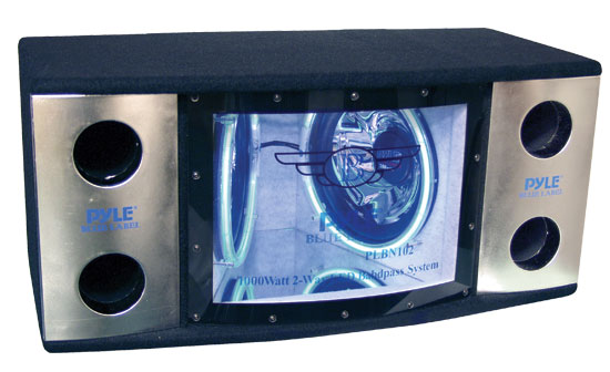 Pyle - PLBN122 , On the Road , Subwoofer Enclosures , Dual 12'' 2 Way 1200 Watt Bandpass w/Blue Woofer Rings