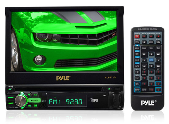 Pyle - PLBT72G , On the Road , Headunits - Stereo Receivers , 7'' Single DIN In-Dash Motorized Touch Screen TFT/LCD Digital Monitor w/Multimedia Disc/MP4/USB/SD-Slot Card AM/FM/Bluetooth Dial Pad Built-In GPS/TTS w/USA/Canada & Mexico Maps