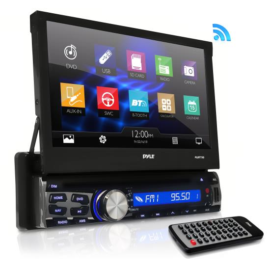 Pyle - PLBT73G , On the Road , Headunits - Stereo Receivers , 7-inch Bluetooth and GPS Navigation Headunit Receiver, Built-in Mic for Hands-Free Call Answering, Touch Screen, Multimedia Disc Player, USB/SD Card Readers, AM/FM Radio, AUX Input, Single DIN