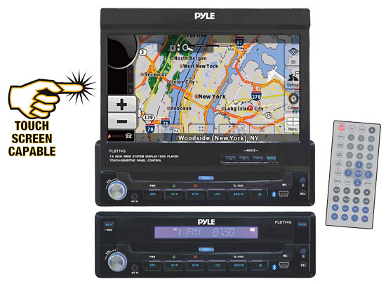 Pyle - PLBT74G , On the Road , Headunits - Stereo Receivers , 7'' Single DIN In-Dash Motorized Touch Screen TFT/LCD Monitor W/Multimedia Disc/MP4/USB/SD/AM/FM/RDS/Bluetooth & Screen Dial Pad Built-In GPS/TTS w/USA/Canada & Mexico Maps