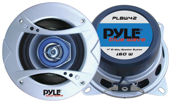 Pyle - PLBW42 , On the Road , Vehicle Speakers , 4'' 160 Watt Two-Way Speaker w/Blue LED Light