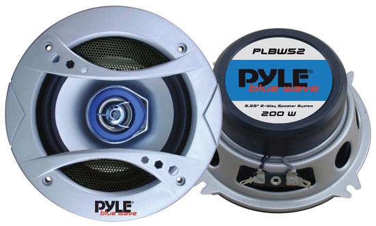 Pyle - PLBW52 , On the Road , Vehicle Speakers , 5.25'' 200 Watt Two-Way Speaker w/Blue LED Light