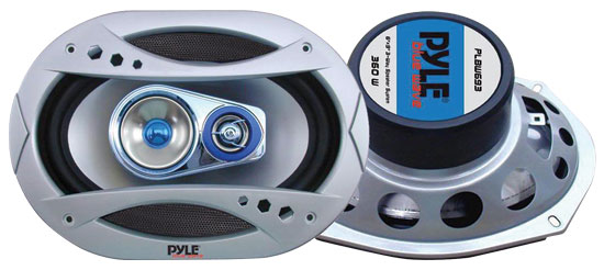 Pyle - PLBW693 , On the Road , Vehicle Speakers , 6''x9'' 400 Watt Three-Way Speaker w/Blue LED Light