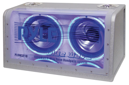 Pyle - PLBWS210 , On the Road , Subwoofer Enclosures , Dual 10'' 1000 Watt Bandpass w/Neon Woofer Rings Enclosure System