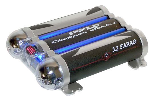 Pyle - PLCAP5.2 , On the Road , Capacitors , 5.2 Farad Triple Link Capacitor w/Blue Neon