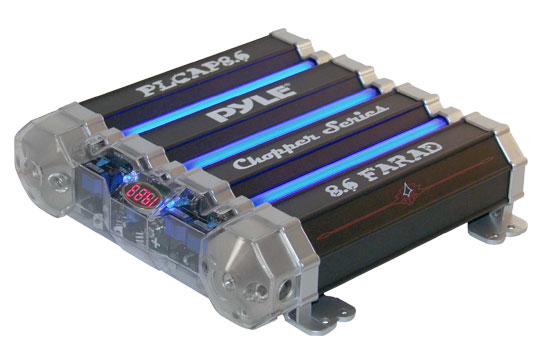Pyle - PLCAP8.6 , Car Audio , Power Capacitors , 5 to 10 Farad , 8.6 Farad Quad Link Capacitor w/Blue Neon
