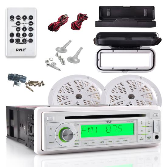 Pyle - PLCD11MRKT , Marine and Waterproof , Receiver & Speaker Kits , Marine Stereo Radio Headunit Receiver & Waterproof Speaker Kit, Aux (3.5mm) MP3 Input, CD Player, Remote Control, Includes (2) 5.25'' Speakers, Receiver Splash Cover (White)