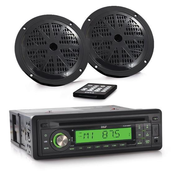 Pyle - PLCD14MRKT , Marine and Waterproof , Receiver & Speaker Kits , Marine Stereo Receiver & Speaker Kit - Single DIN Radio with CD Player, MP3/USB/SD Readers, (2) 5.25'' Waterproof Speakers, Radio Splash Shield