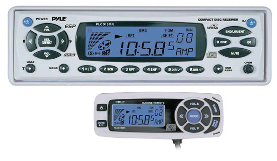 Pyle - PLCD15MR , Marine Audio & Video , CD / MP3 Receivers , AM/FM-MPX In-Dash Marine CD/MP3 Player w/Full Face Detachable Panel with Wired Remote