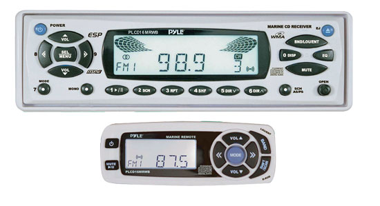 Pyle - PLCD16MRWB , On the Road , Headunits - Receivers , AM/FM-MPX In-Dash Marine CD/MP3 Player/Weather Band Reception w/Full Face Detachable Panel & Wired Remote